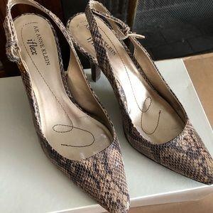 Snake skin strap back heels